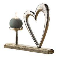 "Gilde Kerzenhalter ""Herz"" aus Alu/Mangoholz, 33 cm, silber-braun"