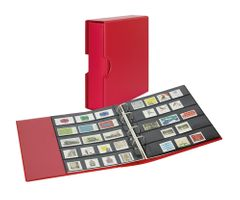 Stamp album PUBLICA M COLOR with 10 double-sided pages  in two layouts - Berry (red) - with matching slip case