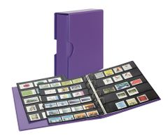 Stamp album PUBLICA M COLOR with 10 double-sided pages  in two layouts - Viola (violet) - with matching slip case