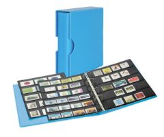 Stamp album PUBLICA M COLOR with 10 double-sided pages  in two layouts - Nautic (blue) - with matching slip case