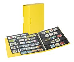 Stamp album PUBLICA M COLOR with 10 double-sided pages  in two layouts - Solino (yellow) - with matching slipcase