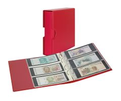 Album PUBLICA M COLOR with 10 double-sided pages in 2 different layouts - Berry (red) - with matching slip case