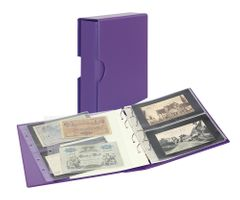 Album PUBLICA M COLOR with 10 double-sided pages in 2 different layouts - Viola (violet) - with matching slip case