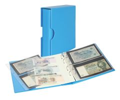 Album PUBLICA M COLOR with 10 double-sided pages in 2 different layouts - Nautic (blue) - with matching slip case