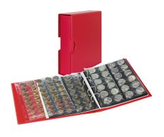 Coin album PUBLICA M COLOR with 10 pages in 5 different layouts -Berry (red) - with matching slip case