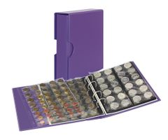 Coin album PUBLICA M COLOR with 10 pages in 5 different layouts - Viola (violet) - with matching slip case