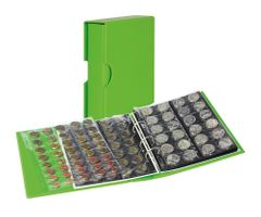 Coin album PUBLICA M COLOR with 10 pages in 5 different layouts - Spring (green) - with matching slip case