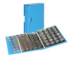 Coin album PUBLICA M COLOR with 10 pages in 5 different layouts - Nautic (blue) - with matching slip case