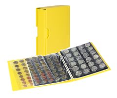Coin album PUBLICA M COLOR with 10 pages in 5 different layouts - Solino (yellow) - with matching slip case