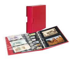Universal album PUBLICA M COLOR for postcards/ photos with 10 double-sided foil pages - Berry (red) - with matching slipcase