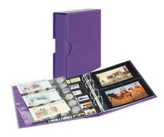 Universal album PUBLICA M COLOR for postcards/ photos with 10 double-sided foil pages - Viola (violet) - with matching slipcase