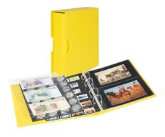 Universal album PUBLICA M COLOR for postcards/ photos with 10 double-sided foil pages - Solino (yellow) - with matching slip case