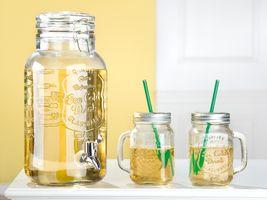 Gilde Getränkespender + Trinkglas, 5-teiliges Set,  32 cm / 13 cm