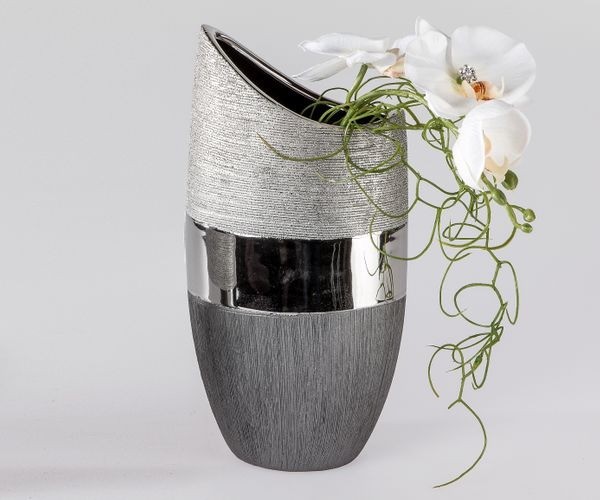 formano deko vase luxor blumenvase keramikvase 30 cm silber grau ebay. Black Bedroom Furniture Sets. Home Design Ideas