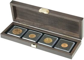 Real wood cassette CARUS S with 4 square compartments for coins/coin capsules up to Ø 52 mm