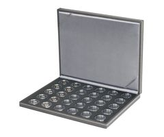 Case NERA M BLACK SAMT for 30 German collector coins in coin capsules. Capsules are included  – Bild 1