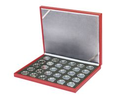 Case NERA M RUBIN BLACK SAMT for 30 German collector coins in coin capsules. Capsules are included  – Bild 1