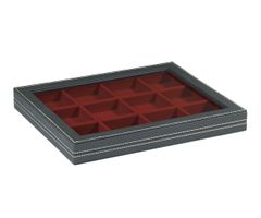 Case NERA M with window and dark red insert with 12 square compartments – Bild 1