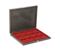 Solid wood case CARUS-1 with light red insert  with 12 square compartments   – Bild 1