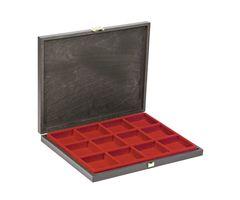 Echtholz-Sammelkassetten CARUS-1 mit hellroter Einlage mit 12 quadratischen Fächern – Bild 1