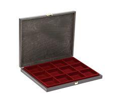 Echtholz-Sammelkassetten CARUS-1 mit dunkelroter Einlage mit 12 quadratischen Fächern – Bild 1