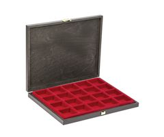 Solid wood case CARUS-1 with light red insert  with 20 square compartments  – Bild 1