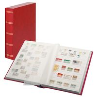 "Stockbook ""LUXUS"" red, with 60 white pages and matching slipcase – Bild 1"