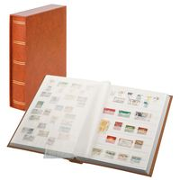 "Stockbook ""LUXUS"" brown, with 60 white pages and matching slipcase – Bild 1"