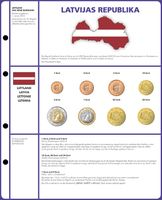 Illustrated page EURO COLLECTION: 3 EURO coin sets Lettonie