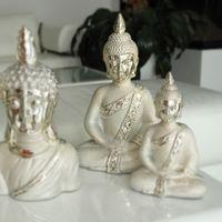 "Gilde Deko Buddha  ""Grace"", 34 cm, champagner-silber"