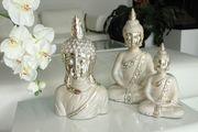 "Gilde Deko Buddha  ""Grace"", 34 cm, champagner-silber Bild 2"