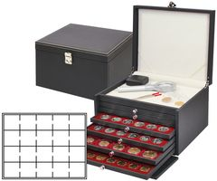 Coin cabinet NERA with 6 drawers and dark red coin inserts for 120 coin holders 50x50 mm / coin capsules CARRÉE/OCTO   – Bild 1