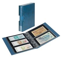 Banknote album RONDO with 10 banknote pages, incl. slip case, blue