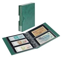 Banknote album RONDO with 10 banknote pages, incl. slip case, green – Bild 1