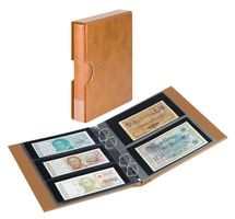 Banknote album RONDO with 10 banknote pages, incl. slip case, light brown – Bild 1