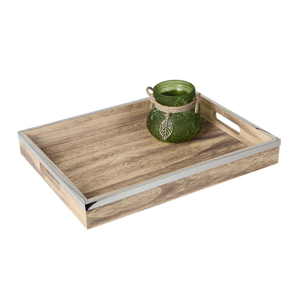 Formano Deko Tablett Aus Holz Mit Griffen Und Edelstahlkante 40 Cm