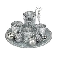 Formano Windlicht Set Stern 25 cm, silber, 5-teiliges Set