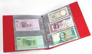 KOBRA-Banknotenalbum mit 20 glasklaren, geteilten Folienhüllen, 210 x 230 mm, rot – Bild 1