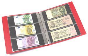 KOBRA-Banknotenalbum im Großformat mit 20 dreigeteilten Blättern, rot – Bild 1