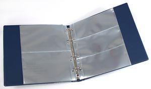 KOBRA-Banknotenalbum mit 20 glasklaren, geteilten Folienhüllen, 210 x 230 mm, blau – Bild 2