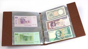 KOBRA-Banknotenalbum mit 20 glasklaren, geteilten Folienhüllen, 210 x 230 mm, hellbraun – Bild 1