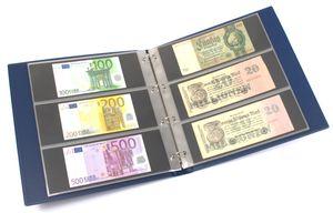 KOBRA-Banknotenalbum im Großformat mit 20 dreigeteilten Blättern, blau – Bild 1