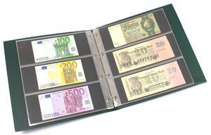 KOBRA-Banknotenalbum im Großformat mit 20 dreigeteilten Blättern, grün – Bild 1