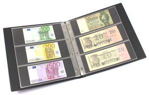 KOBRA-Banknotenalbum im Großformat mit 20 dreigeteilten Blättern, schwarz – Bild 1