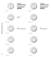 "Illustrated page karat for 2 EURO commemorative coins series ""German Federal States"": 2018/2019 Berlin & 70 Years Federal Council"