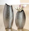 "Gilde Deko Vase ""Circular"" aus Keramik, 45 cm, silber 002"