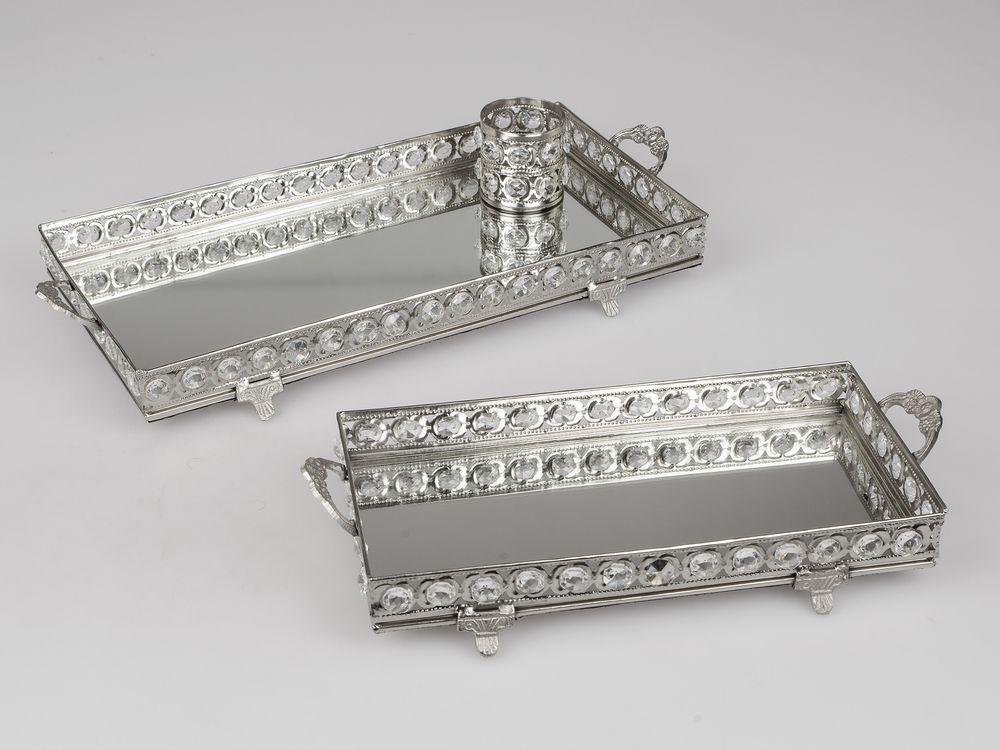 formano spiegel tablett rechteckig aus metall kristall gefertigt l nge 30 cm breite 14 cm. Black Bedroom Furniture Sets. Home Design Ideas