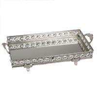 Formano Spiegel-Tablett, rechteckig, aus Metall/Kristall gefertigt, Länge: 30 cm, Breite: 14 cm, Silber, 1 Stück