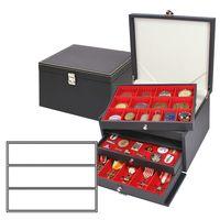 NERA Münzkabinett mit 3 Schubladen und hellroten Einlagen mit je 3 flexibel unterteilbaren Fächern 65 x 280 x 29 mm   – Bild 1