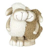 Formano Dekofigur Schafpaar aus Keramik und Wolle, Höhe: 36 cm, Breite: 31 cm, Creme-Braun, 1 Stück